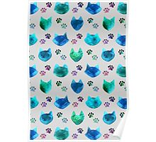 Watercolor Cat Heads - shades of blue & green on slate grey Poster