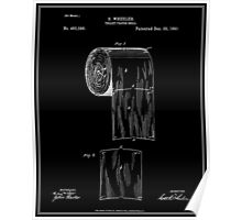 Toilet Paper Roll Patent - Black Poster