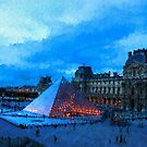 Impressions of Paris - Louvre Pyramid Evening by Georgia Mizuleva