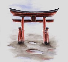 Torii gate watercolor art print painting, japanese symbol for sale by Mariusz Szmerdt