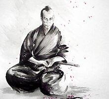 Samurai sign, japanese warrior ink drawing, mens gift idea large poster by Mariusz Szmerdt