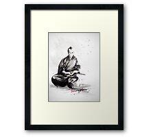 Samurai sign, japanese warrior ink drawing, mens gift idea large poster Framed Print
