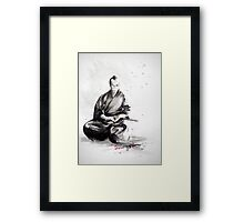 Samurai sign, japanese warrior ink drawing, mens gift idea large poster Framed Print