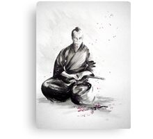 Samurai sign, japanese warrior ink drawing, mens gift idea large poster Canvas Print