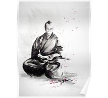 Samurai sign, japanese warrior ink drawing, mens gift idea large poster Poster