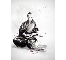 Samurai sign, japanese warrior ink drawing, mens gift idea large poster Photographic Print