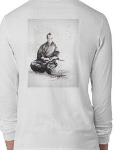 Samurai sign, japanese warrior ink drawing, mens gift idea large poster Long Sleeve T-Shirt
