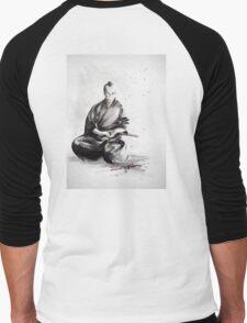 Samurai sign, japanese warrior ink drawing, mens gift idea large poster Men's Baseball ¾ T-Shirt