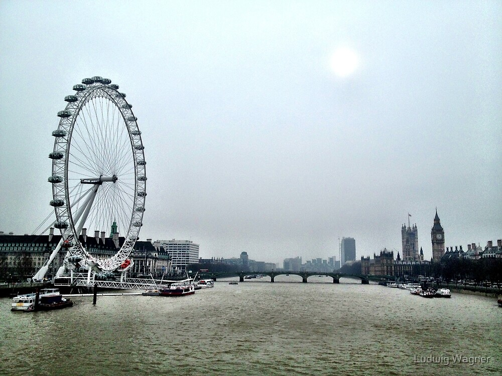 View from Embankment Bridge, London by Ludwig Wagner