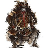 Samurai armor, japanese warrior old armor, samurai portrait, japanese ilustration art print by Mariusz Szmerdt