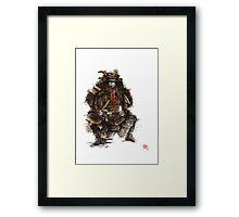 Samurai armor, japanese warrior old armor, samurai portrait, japanese ilustration art print Framed Print