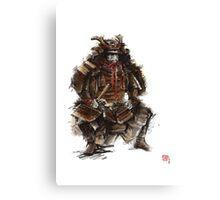 Samurai armor, japanese warrior old armor, samurai portrait, japanese ilustration art print Canvas Print