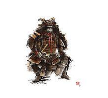 Samurai armor, japanese warrior old armor, samurai portrait, japanese ilustration art print Photographic Print