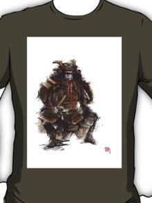 Samurai armor, japanese warrior old armor, samurai portrait, japanese ilustration art print T-Shirt