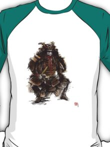 Samurai armor, japanese warrior old armor, samurai portrait, japanese ilustration art print T-Shirt