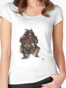 Samurai armor, japanese warrior old armor, samurai portrait, japanese ilustration art print Women's Fitted Scoop T-Shirt
