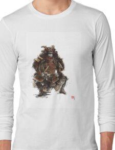 Samurai armor, japanese warrior old armor, samurai portrait, japanese ilustration art print Long Sleeve T-Shirt