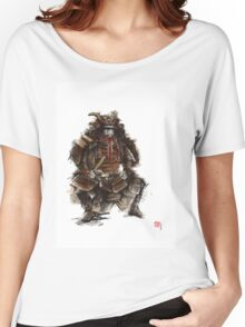 Samurai armor, japanese warrior old armor, samurai portrait, japanese ilustration art print Women's Relaxed Fit T-Shirt