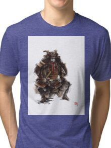 Samurai armor, japanese warrior old armor, samurai portrait, japanese ilustration art print Tri-blend T-Shirt