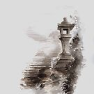 Japanese lantern ink painting, mens gift idea, japan landscape painting by Mariusz Szmerdt