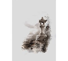 Japanese lantern ink painting, mens gift idea, japan landscape painting Photographic Print