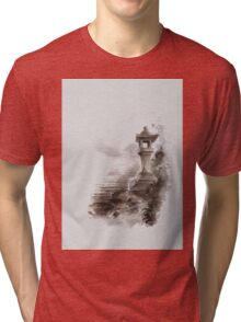 Japanese lantern ink painting, mens gift idea, japan landscape painting Tri-blend T-Shirt