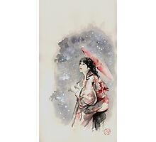 Geisha sign room decoration, japanese woman wall print, geisha figurine large poster Photographic Print