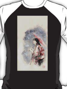 Geisha sign room decoration, japanese woman wall print, geisha figurine large poster T-Shirt