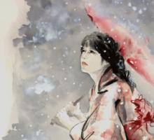 Geisha sign room decoration, japanese woman wall print, geisha figurine large poster Sticker
