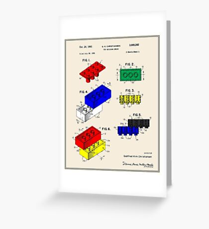 Lego Building Brick Patent - Colour Greeting Card