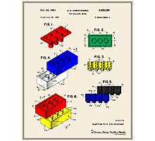 Lego Building Brick Patent - Colour Photographic Print