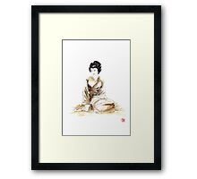 Geisha ink painting,  geisha kimono japan art print women wedding gift modern art abstract art sumi-e geisha girl geisha costume asian women Framed Print
