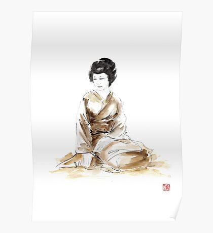 Geisha ink painting,  geisha kimono japan art print women wedding gift modern art abstract art sumi-e geisha girl geisha costume asian women Poster