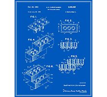 Lego Building Brick Patent - Blueprint Photographic Print