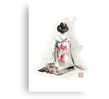 Geisha girl drawing large poster, japanese woman watercolor art prin, geisha kimono artwork Canvas Print