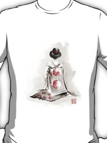 Geisha girl drawing large poster, japanese woman watercolor art prin, geisha kimono artwork T-Shirt