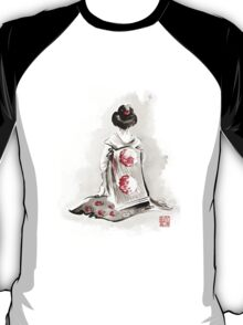 Geisha girl drawing large poster, japanese woman watercolor art prin, geisha kimono artwork T-Shirt