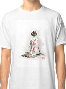 Geisha girl drawing large poster, japanese woman watercolor art prin, geisha kimono artwork Classic T-Shirt