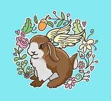 little flying bunny amongst the flowers by jazzydevil