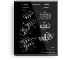 Lego Building Brick Patent - Black Metal Print
