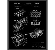 Lego Building Brick Patent - Black Photographic Print