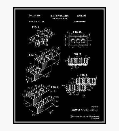 Lego Building Brick Patent - Black Photographic Print