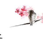 Sparrow sumi-e bird birds on branches ink drawing , cherry blossom flowers, japanese home decor by Mariusz Szmerdt