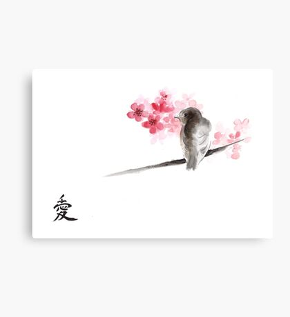 Sparrow sumi-e bird birds on branches ink drawing , cherry blossom flowers, japanese home decor Canvas Print