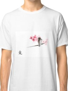 Sparrow sumi-e bird birds on branches ink drawing , cherry blossom flowers, japanese home decor Classic T-Shirt