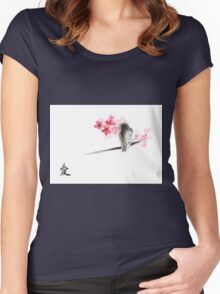 Sparrow sumi-e bird birds on branches ink drawing , cherry blossom flowers, japanese home decor Women's Fitted Scoop T-Shirt