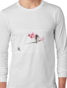 Sparrow sumi-e bird birds on branches ink drawing , cherry blossom flowers, japanese home decor Long Sleeve T-Shirt
