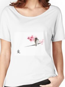 Sparrow sumi-e bird birds on branches ink drawing , cherry blossom flowers, japanese home decor Women's Relaxed Fit T-Shirt
