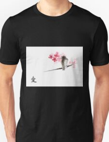 Sparrow sumi-e bird birds on branches ink drawing , cherry blossom flowers, japanese home decor Unisex T-Shirt
