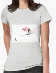 Sparrow sumi-e bird birds on branches ink drawing , cherry blossom flowers, japanese home decor Womens Fitted T-Shirt